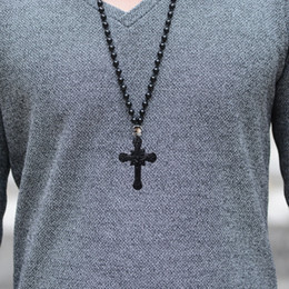 Black gothic cross pendant online shopping - Punk Natural Obsidian Cross Jesus Necklace Men High Grade Rock Hip Hop Pendants Necklaces Mens Domineering Collar Trendy Gothic Jewelry