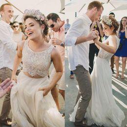 $enCountryForm.capitalKeyWord Canada - Sexy Fake Two Pieces Chiffon Weding Dresses A Line Pearls Beaded Waist Lace Top 2019 Bohemian Beach Boho Bridal Gowns Cheap Engagement Dress
