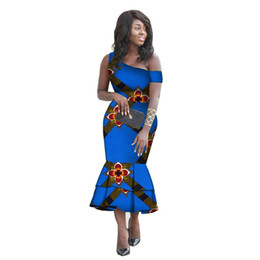 ed68586a9ec0 African Clothing for Women Slim One-Shoulder Mermaid Evening Dresses African  Print Dresses Notched Neck Ankara