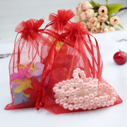 Red jewelRy pouch online shopping - 200Pcs x18cm Red Organza Jewelry Pouch Wedding Party Favor Gift Bag Christmas Birthday Gift Jewelry Pouches