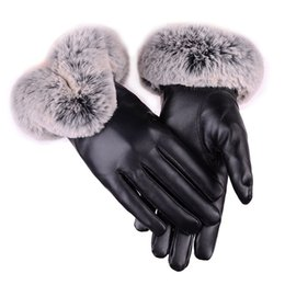 $enCountryForm.capitalKeyWord Australia - Fashion Warm PU Leather Gloves Women Thick Winter Mittens Touch Screen Luxury Faux Fur Female Leather Fur Luvas Skiing