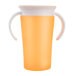 can drink lid Australia - Hot sale Leakproof Drinking Cup Baby Learning Drinking Cup Can Be Rotated Double Handle Flip lid Kids Sippy Cups