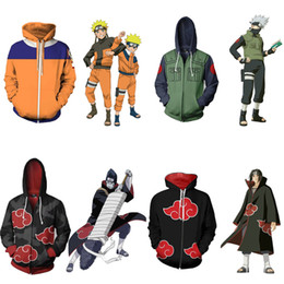 Chinese  Japanese Anime Naruto Cosplay Jackets Clothes Costumes Men Hoodies Sweatshirts Uzumaki Akatsuki Haruno Sakura Hat Clothing Tops manufacturers