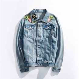 jacket tiger Canada - New Men Long Sleeve Back Embroidery Stars Tiger Head Blind For Love Denim Baseball Coats & Jackets Abstract digital coat