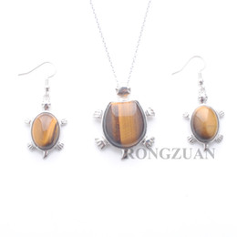 "eye shaped pendants UK - Nice Jewelry Set Dangle Earring Pendant For Woman Gift Natural Stone Tiger's Eye Bead Tortoise shape Necklace Chain 18"" DQ3100"