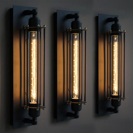 Vintage Wall Switch Australia - black vintage iron wall lamp led industrial style stairs terrace bar restaurant indoor decor wall light