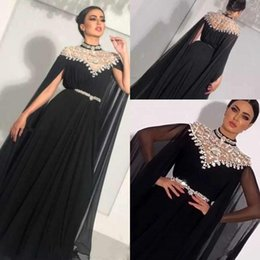 Light coraL Lace dress Long online shopping - High Neck Crystal Chiffon Black Evening Dresses with Ribbon Long Sleeves Pleats Floor Length Saudi Arabic Dubai Formal Dress Prom Gowns