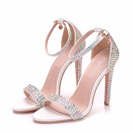 Handmade Ladies Shoes Sandals Australia - Luxurious Bling AB Crystal Wedding Shoes Handmade Rhinestone Bride Wedding Party High Heels Lady Summer Sandals with Ankle Strap