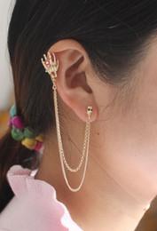 Indian Ear Chain Australia - wholesale 12pcs lot Punk gold skeleton head hand flower finger clip earrings ear cuff woman metal tassel double chain skull earring jewelry