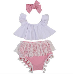 Baby Girl Tutu Bloomers Australia - Summer New Toddler Kids Girl Clothing Set Off shoulder white Crop Tops & pink Tutu Lace Tassel Ball Baby Bloomers Shorts & Headband Set