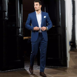 man navy blue yellow formal wear Canada - New Royal Blue Formal Men Suits Slim Fit Wedding Tuxedos Groom Wear 2 Pieces(Jacket+Pants) Groomsman Prom Suits Costume Homme Blazer 27