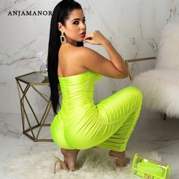 Wholesale ANJAMANOR Neon Yellow Ruched Strapless Long Maxi Bodycon Bandage Dress Beach Party Sexy Trendy Summer Clothes for Women D83 AC77