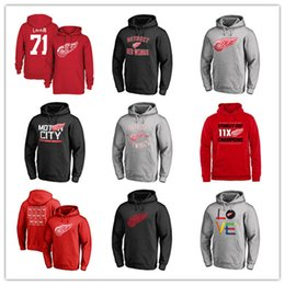 winter green pullover xxl 2019 - #71 Barry Larkin Red Men's Detroit Red Wings Branded Primary Pullover Hoodies long Sleeve Outdoor Wear Fans Sport J