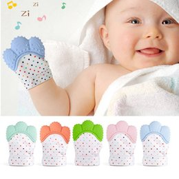 Gloves For Infants Australia - Infant silicone mitts teething mitten glove sound teether newborn feeding teether sucking thumb toy for baby gift
