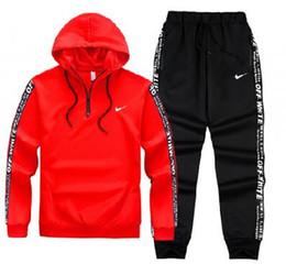Homens Conjunto Hoodies Sportswear 2019 Primavera Outono Novas Moletons Sporting Set Fatos de Treino de 2 Peças Hoodies + Calças Terno Roupas venda por atacado