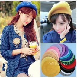 69ef7fafc29 Lady spring Winter Berets Hat Painter style hat Women Wool Vintage Berets  Solid Color Caps Female Bonnet Warm Walking Cap