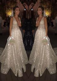 $enCountryForm.capitalKeyWord Australia - Flare Glitter Sequins Prom Dresses Deep V Neck Sweep Train Long bachelorette parties Evening Gown Sexy Backless Plus Robes en paillettes