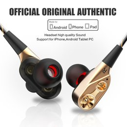 $enCountryForm.capitalKeyWord Australia - HiFi Wired Earphone Dual-Dynamic Quad-core Speaker 3.5mm In-ear earbuds Flexible Cable with Microphone Sport Running Headset