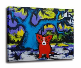 $enCountryForm.capitalKeyWord Australia - Blue Dog High Quality Handpainted & HD Print Modern Abstract Animal Art Oil Painting On Canvas Wall Art Home Office Deco a43