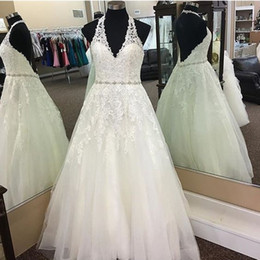 $enCountryForm.capitalKeyWord Australia - New Arrival Halter Backless Wedding Dresses Bridal Gowns V neck Applique Beading Sequins Pleated Tulle Crystal Wedding Gown Cheap