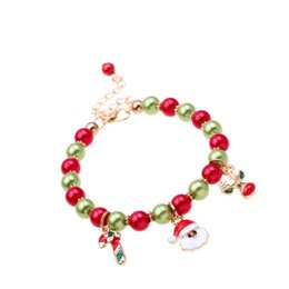 bracelets linens Australia - Women Girls Round Beads Christmas Bracelets Jewelry Santa Claus Home Ornaments Gift Xmas Decor