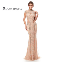 See through faShion online shopping - 2019 Luxury Mermaid Rhinestones Sexy Prom Party Dresses Dubai Show Hollow Backless Illusion Dress See Through Evening Gown