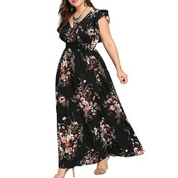 plus size mini maxi dresses Canada - TELOTUNY Women Plus Size Casual Dress Summer V Neck Floral Print Sleeveless Party Maxi Dress Sleeveless L-5XL Women Summer Dress