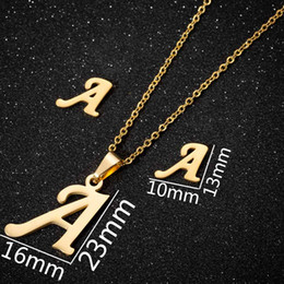 $enCountryForm.capitalKeyWord NZ - 26 piecesStainless Steel Arabic Letters Necklace Women Stainless steel 26 letter necklace earrings set Name Initial Gold Jewelry Gifts Girls