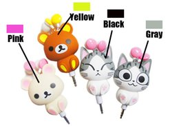 Cheese Cat earphone online shopping - 2018 new cheese cat cartoon automatic retractable earphones for mobile phone cartoon earphones cute