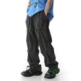 High Street Washed Pantalon Retro Cargo en couches Hommes Hip Hop Drapée Drawstring Salopette loose Pantalons Leggings