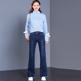 91c10bfbb0b korean wide legged pants 2019 - Flare Pants cowgirl 2019 Spring High waist  shaved side slimming