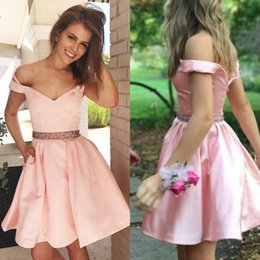 Cute short prom dresses online shopping - Cute Off The Shoulder A Line Short Pink Homecoming Party Dress Beading Sash Zipper Back Satin Mini Cocktail Prom Gowns With Pockets