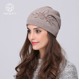 b62982bf Andybeatty Women's Winter Hats Knitted Wool Skullies Casual Cap with Flower  Pattern Gorros Thick Warm Bonnet Beanie Hat for girl S18120302