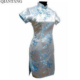 Mini satin cheongsaM online shopping - Noble Light Blue Traditional Chinese Mujer Vestido Women s Cheongsam Mini Qipao Dress Flower S M L Xl Xxl Xxxl xl xl xl J4033