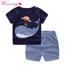 $enCountryForm.capitalKeyWord UK - Summer Cartoon Print Cloth Sets For Baby Boys Girls T Shirts Tops+ Casual Striped Pants Suit