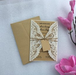 vintage laser cut wedding invitations Australia - Vintage Laser Cut Ivory Wedding Invitation Cards With String Rope, Customized Marriage Invitations Card,100PCS, Express Shipping