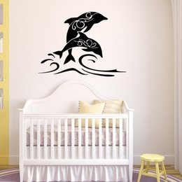 $enCountryForm.capitalKeyWord Australia - Hot Sale Jumping Dolphin Art Mural Wall Decal PVC Removable Cartoon Animal Wall Stickers for Living Room Bedroom and Kids Room Decoration