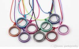 Diamond Floats Australia - Newest colorful diamond necklace DIY photo box pendant necklace floating locket zinc alloy necklace free shipping