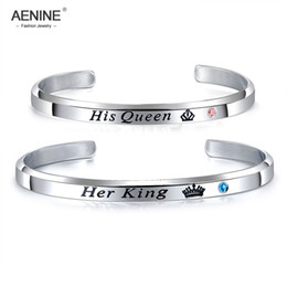 $enCountryForm.capitalKeyWord Australia - AENINE Her King His Queen Infinity Love Couple Stainless Steel C Shape Bangle Bracelet Trendy Lover's CZ Crown Bracelet AOGH931P