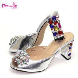 $enCountryForm.capitalKeyWord Australia - Silver Solid Color Shoes African Party Shoes Without Bag Matching Pointed Toe Sandals Women Shoe 9cm Hoof Heels Strong