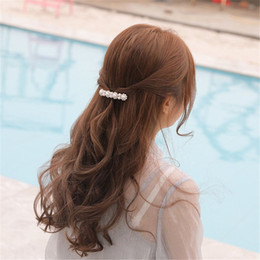 $enCountryForm.capitalKeyWord NZ - 1Pc New Fashion Korean Design Women Flower Pearl Hair Clip Crystal Rhinestone Barrette Women Girls Metal Hair Accessories Gifts