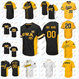 Wholesale Iowa Hawkeyes NCAA College Baseball Jersey Black White Gold For Mens Womens Youth Double Stitched Name and Nmber Mix Order High Quailty