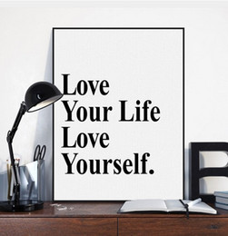 wall decor black art canvas Australia - Black White Minimalist Motivational Typography Love Life Quotes Art Print Poster Living Room Wall Decor Picture Canvas Painting