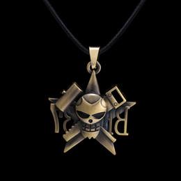 Pendants Anime One Piece Australia - Anime One Piece Franky Pirates Skull Bronze Pendant Necklace High Quality Personality Jewelry