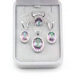 sterling silver jewelry sets Canada - Amazing New Arrival Christmas Gifts Rainbow Cubic Zirconia 925 Sterling Silver Jewelry Sets For Women Trendy Young Accessories