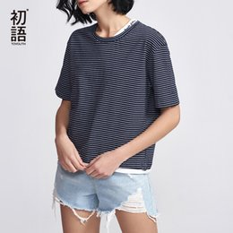 Basic Casual Loose Tees Australia - Toyouth Casual Striped Tees For Women Fashion 2019 Short Sleeve T-shirts Summer Basic Round Neck T Shirt Letter Loose Tops Mujer Y19042202