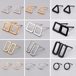 Fashion studs earrings online shopping - New Fashion Colors Punk Simple Geometry Stud Earrings Minimalist Rectangles Triangle Round Ear Stud Lovely Gift Alloy Cheap Jewelry B1