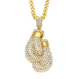 Necklaces Pendants Australia - Boxing Gloves Pendant Necklace Gold Plated Stainless Steel Inlaid Crystal Pendant Longth 70cm Width 5mm Cuban Chain Mens Accessories