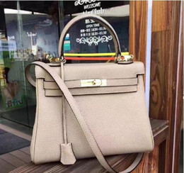 candy bag shoulder strap UK - 25cm 28cm 32CM Brand Totes Litchi Genuine leather Shoulder Bags With 2 straps Fashion lady Handbag High Quality Free Shipping