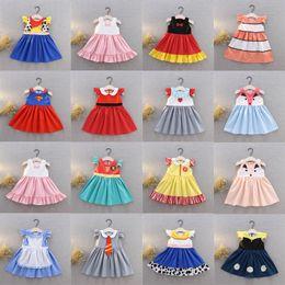 $enCountryForm.capitalKeyWord Australia - Kids Girls Cartoon Princess Dresses 19+ Sleeveless Bow Tie Dot Animals Printed Pleated Dress Kids Designer Girls Clothes Party Costume 1-6T